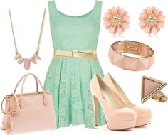 """pink and mint"" by courtney-jones-ii on Polyvore"