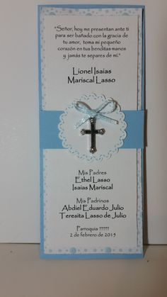 Recuerdo de Bautizo Baptism Cards, Baby Baptism, Christening, Baptism Centerpieces, Baptism Decorations, Communion Invitations, Baptism Invitations, Baby Event, 90th Birthday Parties