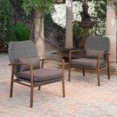 Shop for San Luis Outdoor Wicker Club Chair with Cushions by Christopher Knight Home (Set of Get free delivery On EVERYTHING* Overstock - Your Online Garden & Patio Shop! Get in rewards with Club O! Outdoor Wicker Chairs, Outdoor Armchair, Patio Chairs, Luxury Chairs, Patio Furniture Sets, Furniture Ideas, Brown Wood, Dark Brown, Black Dark