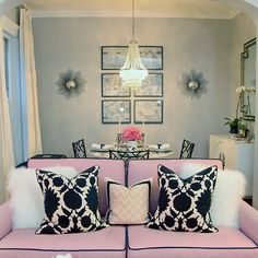 Glamorous Pink Sofa with Black, White & Pink Accent Pillows | Erin Gates Design