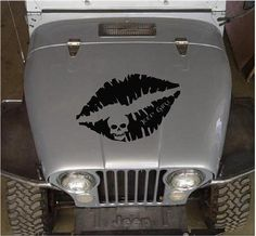 Jeep Girl Lips with Skull Hood Decal Jeep Wrangler Grill, Jeep Jeep, Jeep Hood Decals, Jeep Names, Jeep Grand Cherokee Zj, White Jeep, Girls Lips, Car Window Stickers, Best Car Insurance
