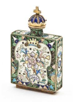 A Russian Silver Enameled Snuff Bottle,
