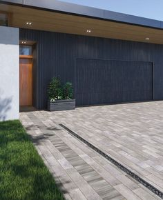 Get people's heads turning with our favorite driveway paver patterns! Driveway Design, Modern Driveway, Modern Landscape Design, Modern Landscaping, Modern Design, Simple Lines, Clean Lines, Paver Patterns, Paver Stones