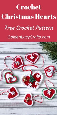 Crochet Christmas decorations, Christmas hearts, hearts … – The Best Ideas Crochet Christmas Wreath, Crochet Christmas Decorations, Christmas Crochet Patterns, Crochet Decoration, Crochet Ornaments, Beaded Christmas Ornaments, Christmas Knitting, Crochet Santa, Christmas Hearts