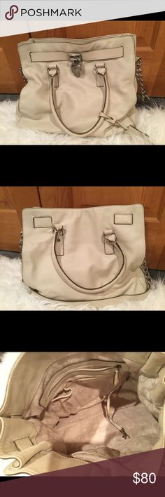 Michael Kors large Hamilton bone leather Great condition, Kors Hamilton leather bag Michael Kors Bags