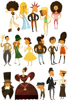 Historical Characters by Wesley Robins, via Behance