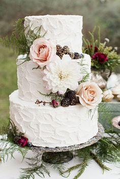 Rustic Wedding Cakes With Floral And Berry Decorations ❤ See more: http://www.weddingforward.com/rustic-wedding-cakes-photos/ #weddings