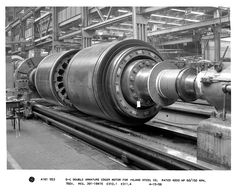 GE built this D-C double armature edger motor for Inland Steel Co. in Yorktown, Virginia back in 1958. #GE #motor