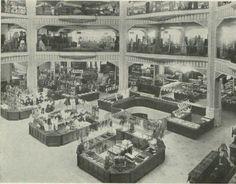 Gran VíA, Grandes Almacenes Madrid-ParíS. Fuente: B.N.E. (1934) Vestíbulo central de los Almacenes Madrid-París.