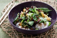 Ginger Beef Stir-Fry with Tatsoi & Jasmine Rice. Visit http://www.blueapron.com/ to receive the ingredients.