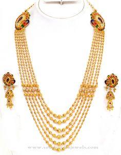 Gold Gundala Haram Designs, Latest Model Gold Gundala Harams, Gold Gundala Haram with Side Lockets.