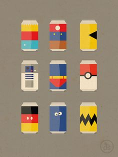 Minimalist soda cans! Best two are Cookie Monster and Charlie Brown in my opinion.
