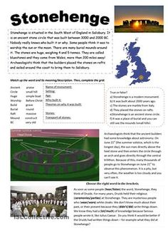 Stonehenge - English ESL Worksheets for distance learning and physical classrooms English Primary School, English Class, English Lessons, English Grammar, Teaching English, Learn English, English Language, English Resources, English Activities