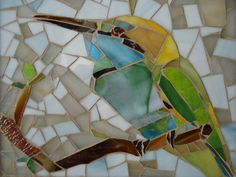 SOLD - glass mosaic - 22 x 19  Hummingbird