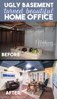 The Basement Man-Office is Complete – Unskinny Boppy – Home Office Design On A Budget Basement Home Office, Basement Studio, Man Cave Basement, Basement Ideas, Low Ceiling Basement, Basement Walls, Basement Bedrooms, Unfinished Basement Bedroom, Basement Makeover