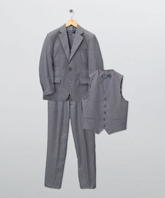 Another great find on #zulily! Charcoal Gray Three-Piece Suit Set - Boys #zulilyfinds