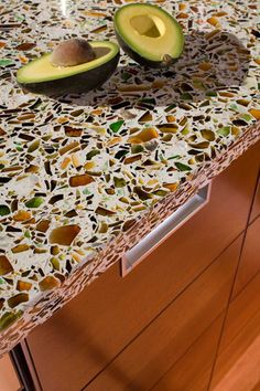 This countertop is made by Vetrazzo Recycled Glass Countertops. They are made in the USA with recycled glass. Shown: Alehouse Amber. Green Countertops, Recycled Glass Countertops, Cabinets And Countertops, Countertop Materials, Concrete Countertops, Gemstone Countertops, Granite, Kitchen Cabinets, Glass Kitchen