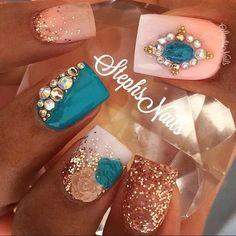 nail art design ideas | with glitter | bling nails | #nailart