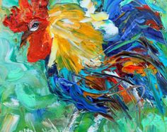 Pig painting original oil 6x6 palette knife by Karensfineart