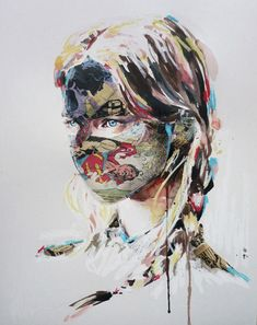 Sandra Chevrier uses positive and negative space to create the profile of a girl. The variety in this piece makes it visually interesting.