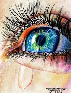 realistic eye drawing with colored pencils