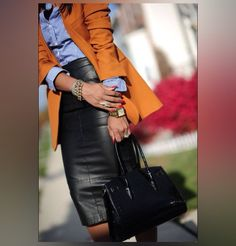 I love leather skirts! Even more when matched with denim shirts! This is a winner look!