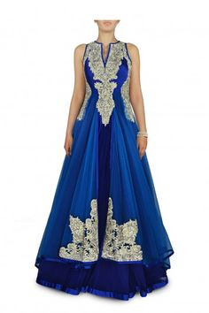 An Electric Blue Layered Embellished Gown- Develop your creative side by wearing this lovely dress.