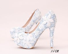 Handmade High Heels Round Toe Blue Lace Crystal Wedding Shoes a4877ab0666f