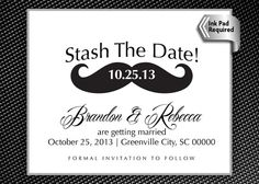 50 printed with envelopes vintage tree mason jar wedding save the stash the date save the date wedding stamp mustache large x business card size custom rubber stamp style 1209 reheart Gallery