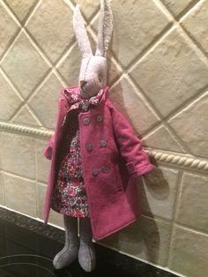 Luna Lapin all dressed up in her liberty print dress & wool coat Liberty Print, Wool Dress, Stuffed Toys, Handmade Toys, Wool Coat, Doll Clothes, Dress Up, Dolls, Bedroom