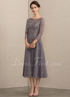 c9854f1f5dd05 A-Line Scoop Neck Tea-Length Chiffon Lace Mother of the Bride Dress With  Sequins (008164069)