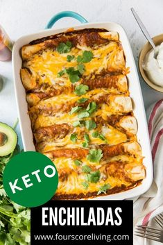 Keto Enchiladas with ground beef, melty cheese, and a mildly spicy, savory sauce will quickly become a family favorite meal. Slow Carb Recipes, Keto Dinner, Low Carb Keto, Enchiladas, Ground Beef, Family Meals, Spicy, Dinners, Cheese
