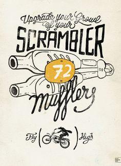 Scrambler Motorcycles Poster design For an Exhibition · Alex Ramon Mas designs www.alexramonmas.com scrambler-®ARM