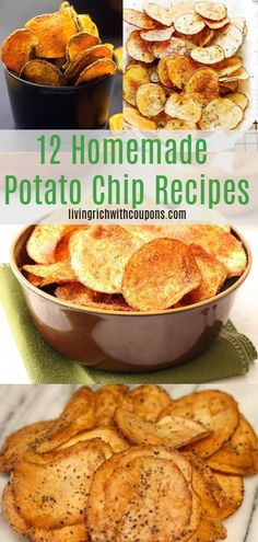 It may convenient to just open a grocery store bag of potato chips. But all of these potato chip recipes here are worth the little bit of effort. The fresh flavor is simply irreplaceable! Here are my top 12 homemade potato chip recipes. Potato Chip Flavors, Potato Recipes, Potato Food, Potato Snacks, Chip Seasoning, Potato Chips Homemade, Potato Crisps, Potato Chips Baked, Dehydrated Sweet Potato Chips Recipe