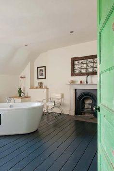 big bathroom dark floorboards in the bathroom Painted Bathroom Floors, Painted Wooden Floors, Wooden Bathroom Floor, Painted Floorboards, Wooden Flooring, Bathroom Flooring, Bathroom Fireplace, Dark Flooring, Painting Wood Floors