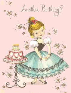 Vintage Birthday Card Little Girl and Pretty Cake