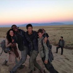The Scorch Trials cast. Dylan in the back looking all good.