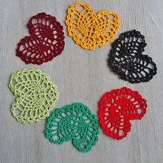 Little crochet heart Appliques shapes small hearts by MyWealth