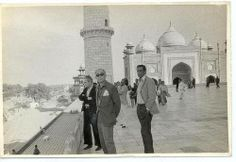 Michelangelo Antonioni, Akira Kurosawa, and Satyajit Ray, three legends at the Taj Mahal, circa 1977.