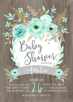 Mint & Gold Baby Shower Invitation Printable by INVITEDbyAudriana