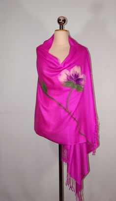 Felted PASHMINA Scarf Fuchsia Color Floral Scarf Vailet by Filtil, $53.00