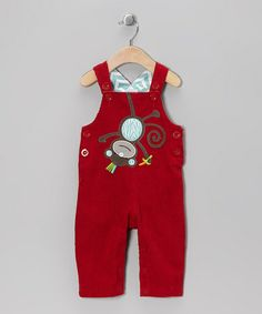 Take a look at this Red Monkey Overalls - Infant & Toddler by Mud Pie on #zulily today! $17 !!
