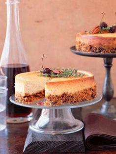 Parmesan Cheesecake with Cherry-Pecan Cracker Crust