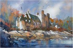 """Hammond Castle, Autumn - Gloucester"" thomas w schaller watercolor 15x22 inches 06 dec. 2014"