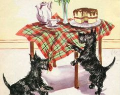 Pair of 1940 Vintage Scottie Dogs into Mischief Illustrations, Prints to Frame
