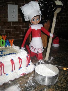 Close-up of Elf on the Shelf making a Birthday cake..IMG_7365 | Flickr - Photo Sharing!