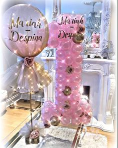 Balloon Party Ideas-Balloon Party Ideas Tulle covered balloon Centrepiece with matching acrylic balloon filled Number 1 - 1st Birthday Party For Girls, 1st Birthday Decorations, Minnie Birthday, Baby Party, Birthday Balloons, Balloon Centerpieces, Balloon Decorations, Baby Shower Decorations, Balloon Ideas