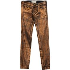 Current/elliott Jeans (190 NZD) ❤ liked on Polyvore featuring jeans, pants, bronze, current elliott jeans, print jeans, brown slim fit jeans, slim cut jeans and patterned jeans