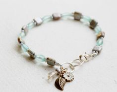 Emerald Blue and Green Czech Glass Rose Gold by YuniDesigns