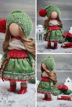 Handmade soft doll, red, green colors, doll for girl, Baby doll, Collectable…